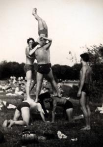 Human pyramid, late 1940s